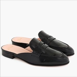 J. Crew Academy Loafer Mule Black Leather 7.5
